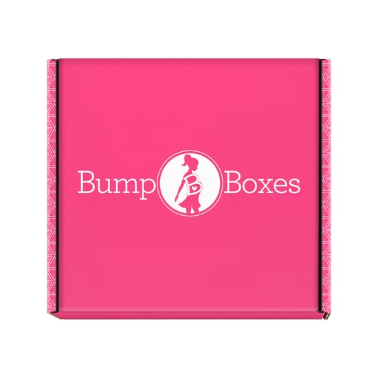 Closed pink Mystery Box with Bump Boxes logo
