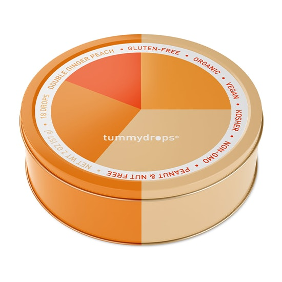 Tin container with 18 ginger and peach Tummydrops